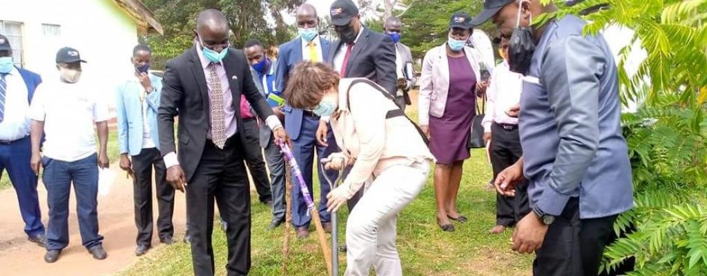 H.E Thordis Sigur Dardottir  during the ground breaking of the education block at the district hqtrs